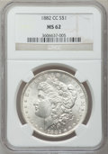 Morgan Dollars: , 1882-CC $1 MS62 NGC. NGC Census: (1366/12173). PCGS Population(2305/24302). Mintage: 1,133,000. Numismedia Wsl. Price for ...