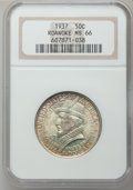 Commemorative Silver: , 1937 50C Roanoke MS66 NGC. NGC Census: (952/244). PCGS Population(1157/295). Mintage: 29,030. Numismedia Wsl. Price for pr...