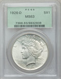 Peace Dollars: , 1926-D $1 MS63 PCGS. PCGS Population (1270/2398). NGC Census:(668/1584). Mintage: 2,348,700. Numismedia Wsl. Price for pro...