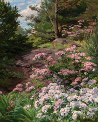 THOMAS ALLEN, JR. (American, 1849-1924) Pink and White Rhododendron in a Forest Oil on canvas 29-