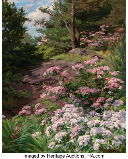 THOMAS ALLEN, JR. (American, 1849-1924)Pink and White Rhododendron in a ForestOil on canvas29-1/2 x 24 inches (74....
