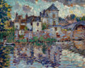 Fine Art - Painting, American:Modern  (1900 1949)  , CLARENCE MONTFORT GIHON (American, 1871-1929). Town Overlookinga Lake. Oil on board. 7-1/2 x 9 inches (19.1 x 22.9 cm)...