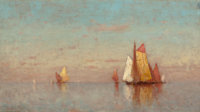WALTER BLACKMAN (American, 1847-1928) Sailing on Calm Waters, 1883 Oil on panel 14 x 25 inches (3