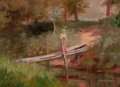 Fine Art - Painting, American:Antique  (Pre 1900), NICHOLAS RICHARD BREWER (American, 1857-1949). Woman on a WoodedBridge. Oil on canvas on artists' board. 10 x 14 inches...