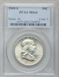 Franklin Half Dollars: , 1949-S 50C MS64 PCGS. PCGS Population (1811/1667). NGC Census:(838/1237). Mintage: 3,744,000. Numismedia Wsl. Price for pr...
