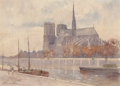 Fine Art - Painting, American:Modern  (1900 1949)  , FLORENCE VINCENT ROBINSON (American, 1874-1937). Notre Dame,Paris, 1912. Watercolor and pencil on paper. 10-3/4 x 15 in...