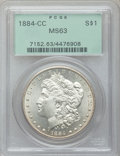 Morgan Dollars: , 1884-CC $1 MS63 PCGS. PCGS Population (11262/23724). NGC Census:(5599/12767). Mintage: 1,136,000. Numismedia Wsl. Price fo...