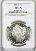 Morgan Dollars: , 1881-O $1 MS62 Prooflike NGC. NGC Census: (116/311). PCGSPopulation (197/271). Numismedia Wsl. Price for problem free NGC...