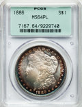 Morgan Dollars: , 1886 $1 MS64 Prooflike PCGS. PCGS Population (266/119). NGC Census:(296/126). Numismedia Wsl. Price for problem free NGC/...