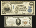 National Bank Notes:Alabama, Birmingham, AL - $20 1929 Ty. 1 The First NB Ch. # 3185; $10 1902 Plain Back Fr. 624 American-Traders NB Ch. # 7020... (Total: 2 notes)