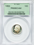 Proof Roosevelt Dimes: , 1963 10C PR69 Deep Cameo PCGS. PCGS Population (194/0). NGC Census:(140/0). Numismedia Wsl. Price for problem free NGC/PC...