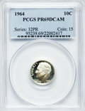 Proof Roosevelt Dimes: , 1964 10C PR69 Deep Cameo PCGS. PCGS Population (288/2). NGC Census:(179/0). Numismedia Wsl. Price for problem free NGC/PC...