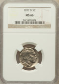 Buffalo Nickels: , 1937-D 5C MS66 NGC. NGC Census: (1870/88). PCGS Population(1646/85). Mintage: 17,826,000. Numismedia Wsl. Price for proble...