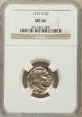Buffalo Nickels: , 1937-D 5C MS66 NGC. NGC Census: (1870/88). PCGS Population(1649/86). Mintage: 17,826,000. Numismedia Wsl. Price for proble...