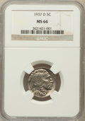 Buffalo Nickels, 1937-D 5C MS66 NGC. NGC Census: (1877/88). PCGS Population(1658/86). Mintage: 17,826,000. Numismedia Wsl. Price for proble...