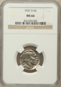 Buffalo Nickels: , 1937-D 5C MS66 NGC. NGC Census: (1874/88). PCGS Population(1655/86). Mintage: 17,826,000. Numismedia Wsl. Price for proble...