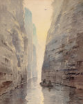 Fine Art - Painting, American:Modern  (1900 1949)  , CHARLES RUSSELL LOOMIS (American, 1857-1936). Boating in theCanyon. Watercolor on paper. 15-1/4 x 12-1/4 inches (38.7 x...
