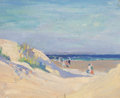 Fine Art - Painting, American:Modern  (1900 1949)  , MARION D. HARRIS (American, 1904-1988). Beach Scene. Oil onartists' board. 8 x 10 inches (20.3 x 25.4 cm). Estate stamp...