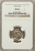 Buffalo Nickels: , 1937-D 5C MS66 NGC. NGC Census: (1870/88). PCGS Population(1647/86). Mintage: 17,826,000. Numismedia Wsl. Price for proble...