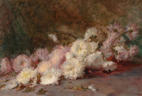 WILTON ROBERT LOCKWOOD (American, 1861-1914) Asters, 1888 Oil on canvas 12-1/8 x 17-5/8 inches (3