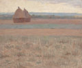 Fine Art - Painting, American:Antique  (Pre 1900), Attributed to THOMAS BUFORD METEYARD (American, 1865-1928). TwoHaystacks in a Field. Oil on canvas. 12-1/2 x 15-1/2 inc...