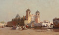 Fine Art - Painting, American:Antique  (Pre 1900), HOWARD RUSSELL BUTLER (American, 1856-1934). Church of SantaAnna in Mexico, 1885. Oil on canvas. 22 x 36 inches (55.9 x...