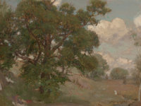 LOUIS LOEB (American, 1866-1909) Pastoral Landscape Oil on beveled panel 10 x 13-1/4 inches (25.4