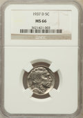 Buffalo Nickels, 1937-D 5C MS66 NGC. NGC Census: (1870/88). PCGS Population(1649/86). Mintage: 17,826,000. Numismedia Wsl. Price for proble...