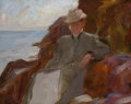 American, MARIE DE FORD KELLER (American, 1860-1962). Woman Sitting onRocks. Oil on panel. 12 x 15 inches (30.5 x 38.1 cm). Artis...