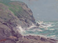 Fine Art - Painting, American:Modern  (1900 1949)  , MILTON JAMES BURNS (American, 1853-1933). Rocky Seascape.Oil on canvas board. 10 x 14 inches (25.4 x 35.6 cm). Signed l...