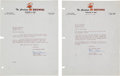 Football Collectibles:Others, 1950 and 1951 Paul Brown Signed Letters Lot of 2....
