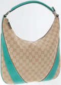 Luxury Accessories:Bags, Gucci Classic Monogram Canvas and Teal Leather Bella Hobo Bag. ...