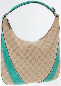 Gucci Classic Monogram Canvas and Teal Leather Bella Hobo Bag