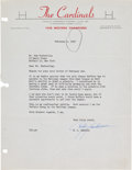 Football Collectibles:Others, 1950 Curly Lambeau Signed Letter....