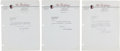 Football Collectibles:Others, 1952 George Preston Marshall Signed Letters Lot of 3....