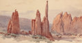 Fine Art - Painting, American:Antique  (Pre 1900), CHARLES GRAHAM (American, 1852-1911). Garden of the Gods.Watercolor on paper. 8 x 15 inches (20.3 x 38.1 cm) (sight). I...