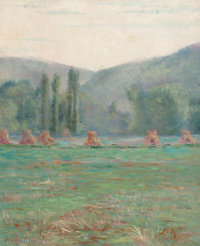FRANCIS (FRANK) HENRY RICHARDSON (American, 1859-1934) French Landscape with Haystacks, 1889 Oil on