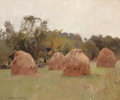 Fine Art - Painting, American:Antique  (Pre 1900), HAMILTON HAMILTON (American, 1847-1928). Haystacks. Oil oncanvas. 19-1/2 x 23-1/2 inches (49.5 x 59.7 cm). Signed lower...
