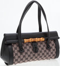 Luxury Accessories:Bags, Gucci Black Leather and GG Monogram Canvas Top Handle Bag withBamboo Closure. ...