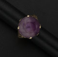Estate Jewelry:Rings, Early Amethyst & Gold Ring. ...