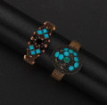Estate Jewelry:Rings, Two Gold Turquoise Rings. ... (Total: 2 Items)