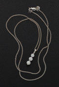 Estate Jewelry:Pearls, Terrific Diamond & 18k Gold Vertical Pendant. ...