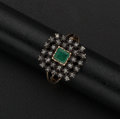 Estate Jewelry:Rings, Vintage Emerald & Diamond Gold Ring. ...