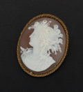 Estate Jewelry:Cameos, Victorian Brown & White Shell Cameo Brooch. ...