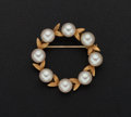 Estate Jewelry:Pearls, Cultured Pearl Circle Gold Brooch. ...