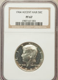 Proof Kennedy Half Dollars: , 1964 50C Accented Hair PR67 NGC. NGC Census: (2249/1357). PCGSPopulation (904/427). Numismedia Wsl. Price for problem fre...