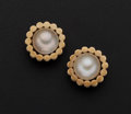 Estate Jewelry:Pearls, Mabe Cultured Pearl Gold Earrings. ...
