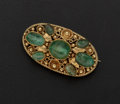 Estate Jewelry:Brooches - Pins, Vintage Emerald & 18k Gold Brooch. ...