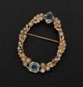 Estate Jewelry:Brooches - Pins, Cultured Pearl & Aquamarine Gold Brooch. ...