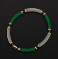 Estate Jewelry:Bracelets, Jade M.O.P. Gold Bracelet. ...